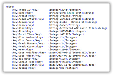 iTunes exported playlists in XML