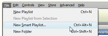 Creating a smart playlist in iTunes